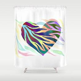 Rainbow Zebra Print Heart! Shower Curtain