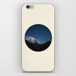 Snow Mountains Against A Blue Sky Circle Photo iPhone Skin