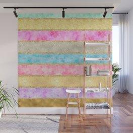 Pretty Gold Glitz Watercolor Stripes Wall Mural