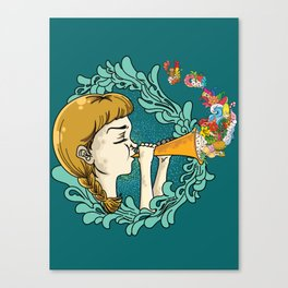 Girl with Trumpet Canvas Print