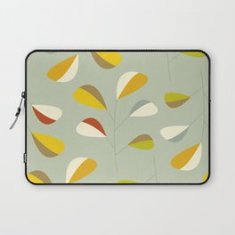 Mid Century Modern Graphic Leaves Pattern 1. Vintage green Laptop Sleeve