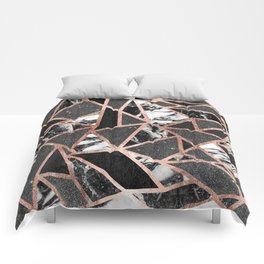 Modern Rose Gold Glitter Marble Geometric Triangle Comforters