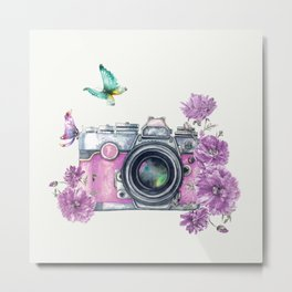 Camera with Summer Flowers 2 Metal Print