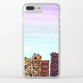 New York Purple Sky Clear iPhone Case