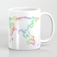 map of the world Mugs featuring World map by David Zydd - Colorful Mandalas & Abstrac