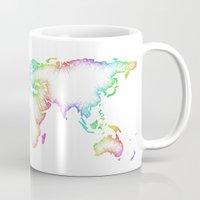 world map Mugs featuring World map by David Zydd
