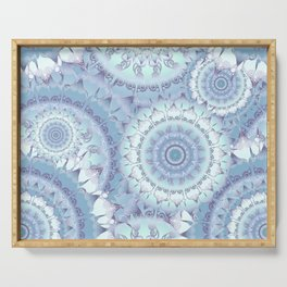 Delicate Ice Blue Mandala Pattern Serving Tray