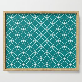 Crossing Circles Pattern - Flower of Life Geometrical Pattern in Teal Blue Green and White Serving Tray