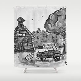 School House, Black and White Print of Primitive Art, Painting by Faye Shower Curtain