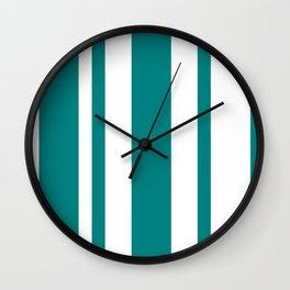 Mixed Vertical Stripes - White and Dark Cyan Wall Clock