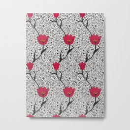 Art Nouveau Tulip Damask, Grey / Gray and Red Metal Print