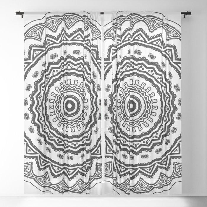 Mandala (Black & White) Sheer Curtain