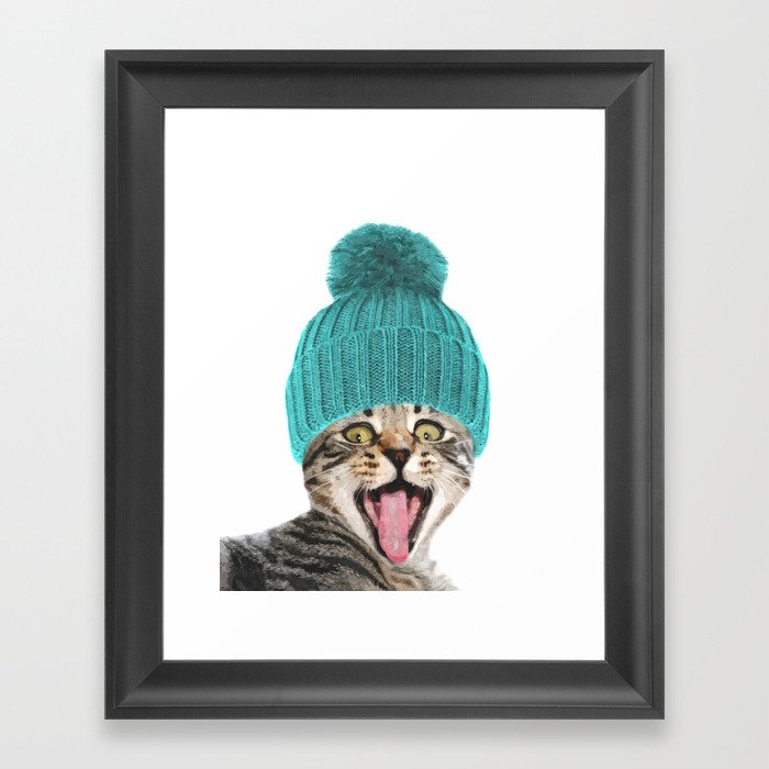 Cat with hat illustration Gerahmter Kunstdruck