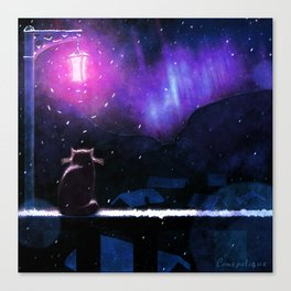 Watching the winter coming | Cat and snow Canvas Print