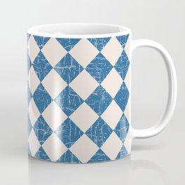 Rustic Checkerboard in Blue and Cream Coffee Mug