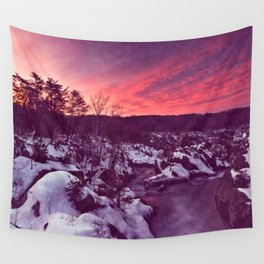 Great Falls Winter Twilight - Violet Velvet Fantasy Wall Tapestry