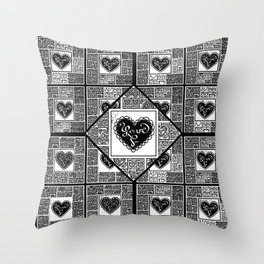 Big hearted Love (black and white) Throw Pillow