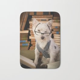 Teacher Dog Westie Among Books Bath Mat