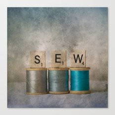 Sewing Blues Canvas Print