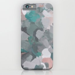 Mint Teal Blue Coral Pink Heather Gray Abstract Flower Wind Expressive Painting Modern Wall Art iPhone Case