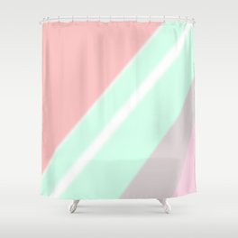 Abstract geometrical mint green coral pink stripes Shower Curtain