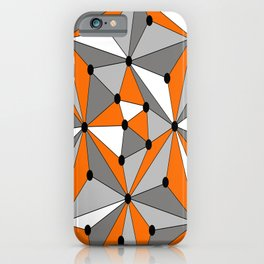 Abstract geometric pattern - orange, gray, black and white. iPhone Case