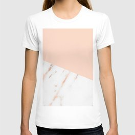 Pink Quartz and White Marble Rose Gold T-shirt