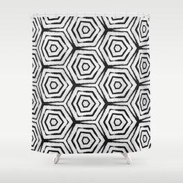 Black & White Hexa Shower Curtain