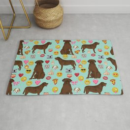 Chocolate lab emoji labrador retrievers dog breed Rug