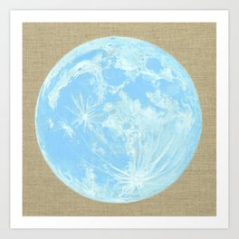 Moon Portrait 4, Blue Moon Art Print