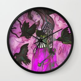 Raven Witch - Bright Purple Wall Clock