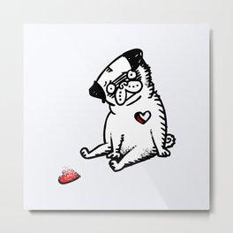 Faded Heart Pug Metal Print