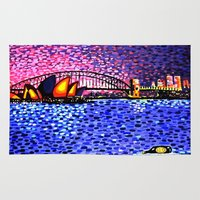 sydney Area & Throw Rugs featuring Sydney Harbour by Alan Hogan