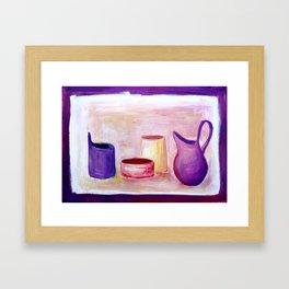 Pots in violet Framed Art Print