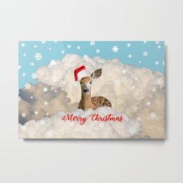 Reindeer Santa Claus - Winter Clouds Snowflakes Merry Christmas Metal Print