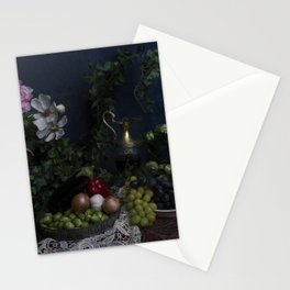 Classic  still life with flowers, fruit, vegetables and wine Stationery Cards