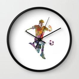 man soccer football player 09 Wall Clock