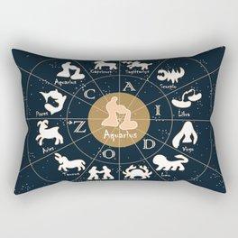 Aquarius, Zodiac, Astrology, Horoscope, Stars, Sun-and-moon. Birthday, Valentines-day, Holidays, Rectangular Pillow