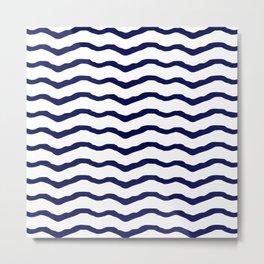 Maritime pattern- dark blue waves lines ond white  background Metal Print