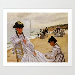 On the Beach at Trouville by Claude Monet Art Print