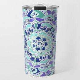 Royal Blue, Teal, Mint & Purple Mandala Flower Travel Mug