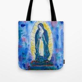 Virgen de guadalupe in blue Tote Bag
