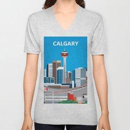 Calgary, Alberta, Canada - Skyline Illustration by Loose Petals Unisex V-Neck