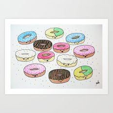 Kawaii Donuts Art Print