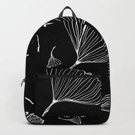 ginko biloba leaves in black and white Backpack