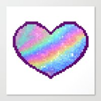 holographic Canvas Prints featuring Holographic Heart by Sombras Blancas Art & Design