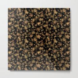 Brown - yellow pattern grunge on black background . Metal Print