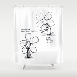 """Easily Discouraged"" Flowerkid Shower Curtain"