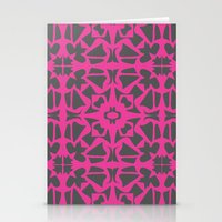 gray pattern Stationery Cards featuring Magenta Gray pattern by xiari