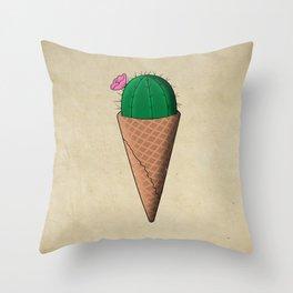 Cactus ice cream Throw Pillow